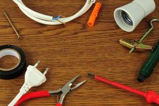 Free Different Electrical Tools Lying On Wooden Table Stock Photo - 14533430