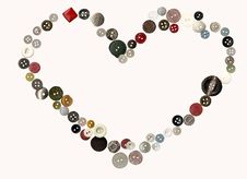 Free Heart Made Of Buttons Royalty Free Stock Images - 14533709