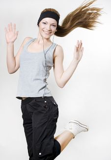 Free Happy Woman Dancing With Player Royalty Free Stock Photography - 14533827