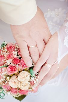Free Wedding Rings On Hands Royalty Free Stock Image - 14534326