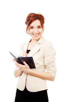 Free Young Woman With Diary Stock Photo - 14534490