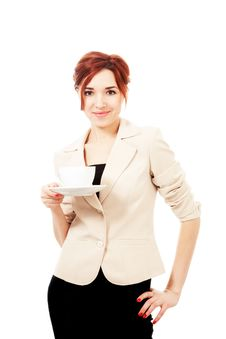 Young Woman With Cup Of Tea/coffee Stock Image