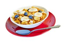 Bowl Of Corn Flakes With Bananas And Blueberries Stock Images