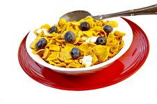 Bowl Of Corn Flakes With Fresh Blueberries Royalty Free Stock Photo