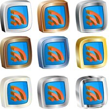 Free RSS 3d Icon Set Stock Images - 14535334