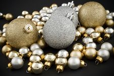 Full Pack Of Christmas Balls Black Stock Photos