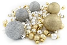 Full Pack Of Christmas Balls White Stock Images