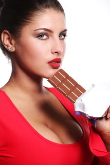 Free Woman And Bar Of Chocolate Royalty Free Stock Photo - 14536605