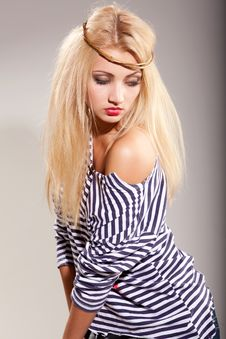 Free Woman And Striped Top Stock Photos - 14536643