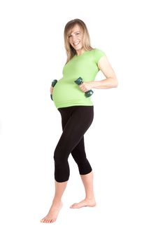 Pregnant With Weights By Belly Royalty Free Stock Photos