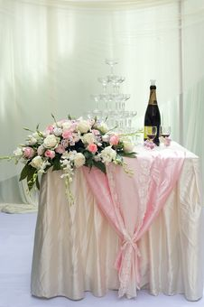 Beautiful Rose Flower And Champagne Stock Photos