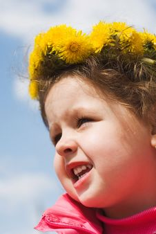 Free Girl And A Wreath Of Dandelions Stock Photos - 14537793