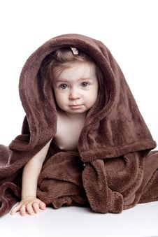 Free Beautiful Baby Under A Brown Towel Royalty Free Stock Images - 14538329