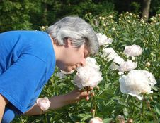 Free MIddle Aged Woman Smelling Flower Stock Photo - 14538330