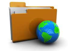 Folder Icon With Globe Stock Photo