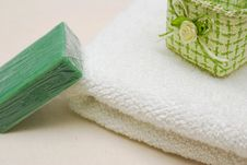 Spa Soap And Towel Stock Photo