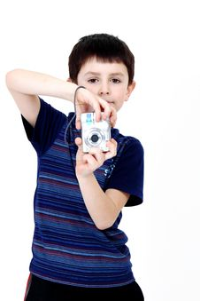 Free Young Boy With Digital Camera Royalty Free Stock Photos - 14539498