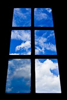 Blue Sky View From Dirty Glass Windows Stock Photo