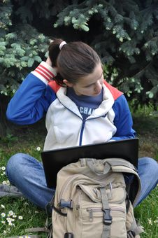 Free Young Student Learning Outdoors With Laptop Royalty Free Stock Image - 14543936