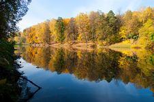 Idyllic  Park Area Near Blue Lake Stock Photo