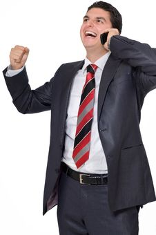 Free Businessman On Cell Excited And Laughing Royalty Free Stock Photo - 14544815