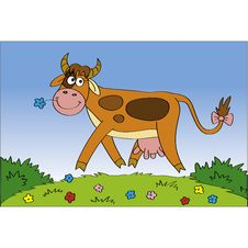 Free Happy Cow At The Meadow Royalty Free Stock Photo - 14545615