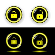 Free Buttons Lock With Gold A Rim Shone Vector Stock Images - 14546164