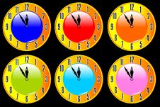 Free Color Collection Of Clocks Vector Stock Images - 14546214