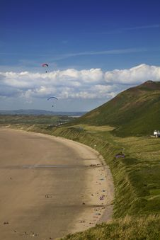 Free Parasailing At Rhossili Bay, Gower, Wales Stock Photo - 14546360