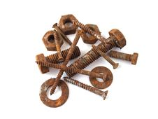 Rusty Nuts, Bolts And Screws Royalty Free Stock Image