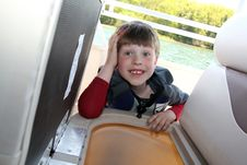 Free Smiling Boy On Boat Royalty Free Stock Image - 14547936