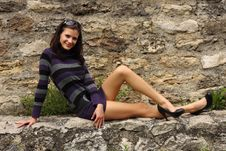Free Brunette Woman On A Rock Stock Photos - 14548403