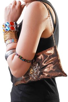 Girl With Jewelery And Purse Stock Photos