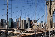 Free Brooklyn Bridge With NY Cityscape 2 Royalty Free Stock Image - 14548836