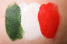Free Italian Flag Painted On Female Cheek Royalty Free Stock Photography - 14549387