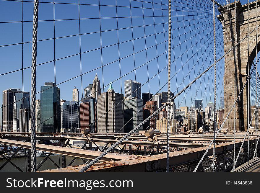 Brooklyn Bridge with NY Cityscape 2