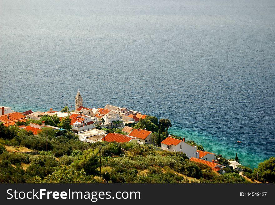 Spectacular scene of village Pisak in Dalmatia, Cr