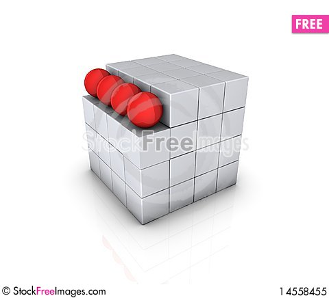 Free Cube With Red Sphere Royalty Free Stock Photo - 14558455