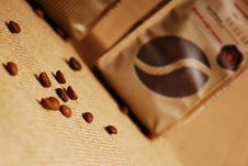 Free Coffee Bag And Beans Royalty Free Stock Photography - 14550517