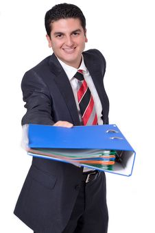 Free Businessman Handing Over A Binder Stock Photo - 14550530