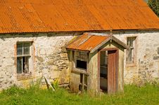 Delapidated Cottage: Porch Detail. Royalty Free Stock Photos