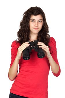 Free Adorable Teen Girl With Binoculars Royalty Free Stock Images - 14551699