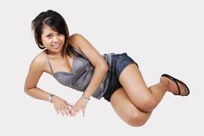Cambodian Girl Lying The On Floor. Royalty Free Stock Photo