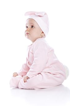 Free Baby Wearing Bunny Suit Isolated Royalty Free Stock Image - 14553156