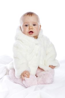 Cute Little Girl With A Warm Coat On Royalty Free Stock Images