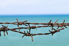 Free Wire Fence On The Beach Stock Photography - 14553202