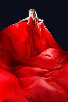 Free Perfect Blonde In A Red Dress Stock Photography - 14554152