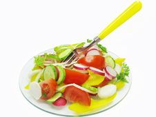 Vegetable Salad In Plate With Fork Stock Photos