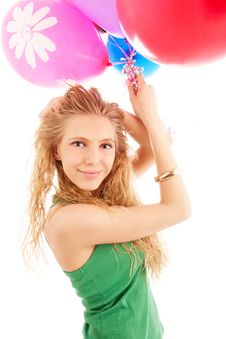 Free Girl With Balloons Stock Image - 14555771