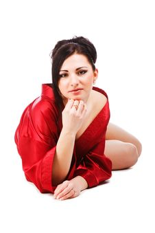 Free Sensuality Young Woman In Red Gown Royalty Free Stock Photography - 14556267